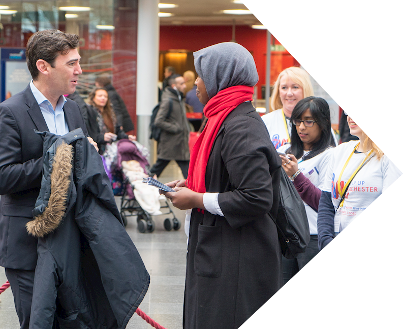 human appeal staff collecting coats at Piccadilly train station