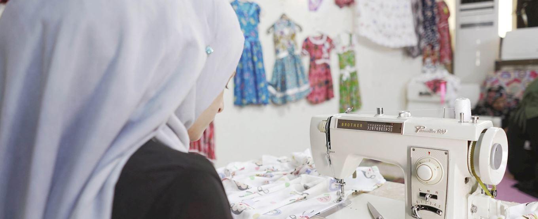 Zahra sewing in Iraq