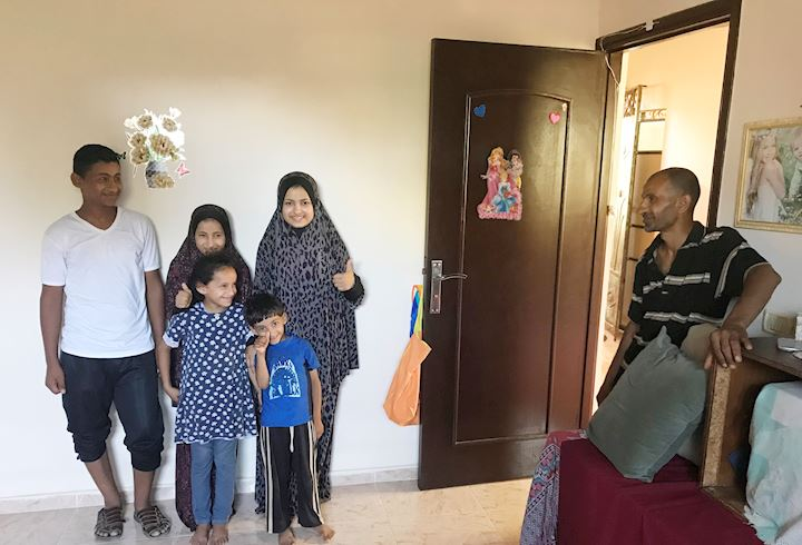 Gaza family in their rebuilt home