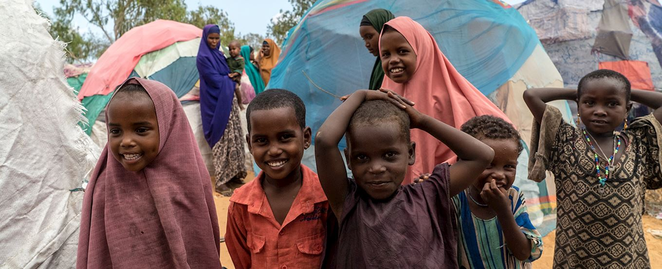 group of Somalia children smiling at the camera
